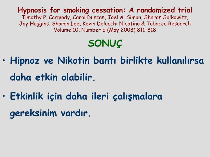 Hypnosis for smoking cessation: A randomized trial