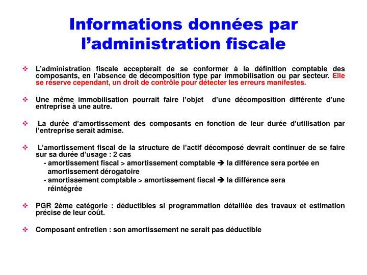 Informations données par l'administration fiscale