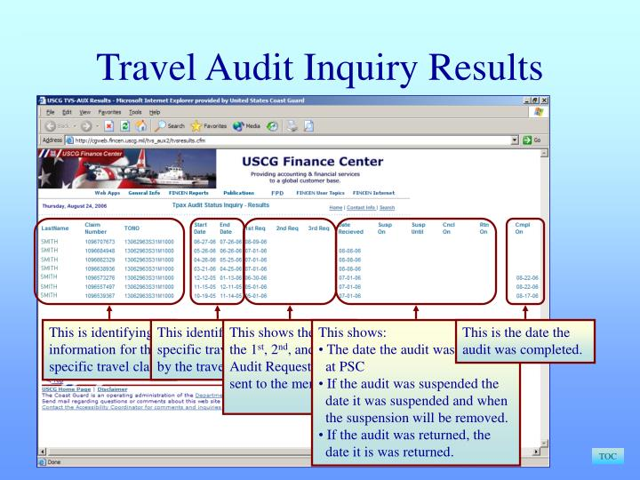 Travel Audit Inquiry Results