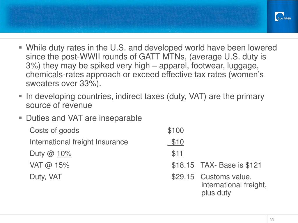 While duty rates in the U.S. and developed world have been lowered since the post-WWII rounds of GATT MTNs, (average U.S. duty is 3%) they may be spiked very high – apparel, footwear, luggage, chemicals-rates approach or exceed effective tax rates (women's sweaters over 33%).