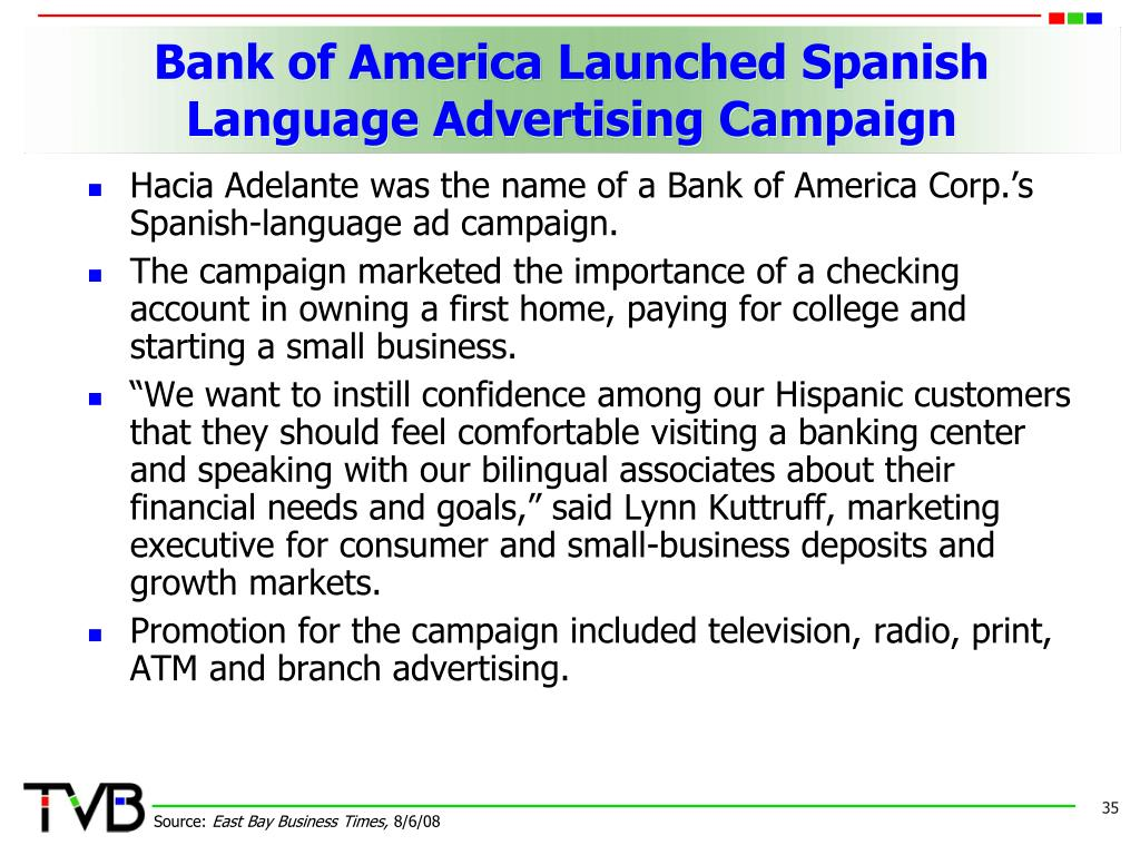 Bank of America Launched Spanish Language Advertising Campaign