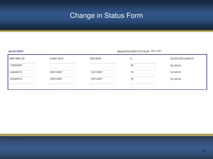 Change in Status Form