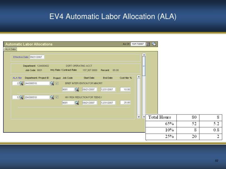EV4 Automatic Labor Allocation (ALA)