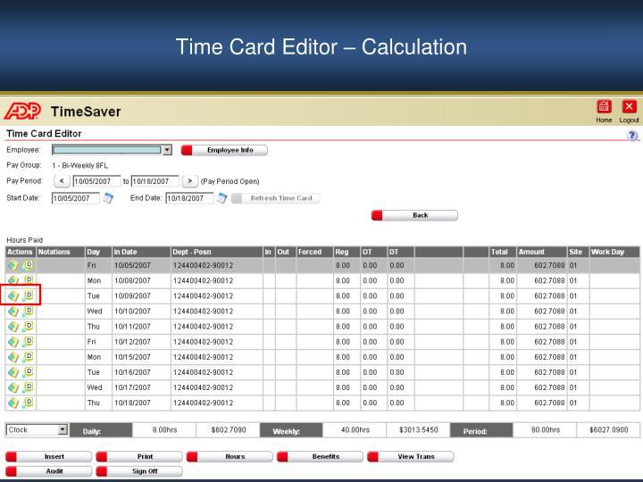 Time Card Editor – Calculation