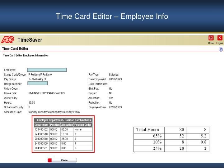 Time Card Editor – Employee Info
