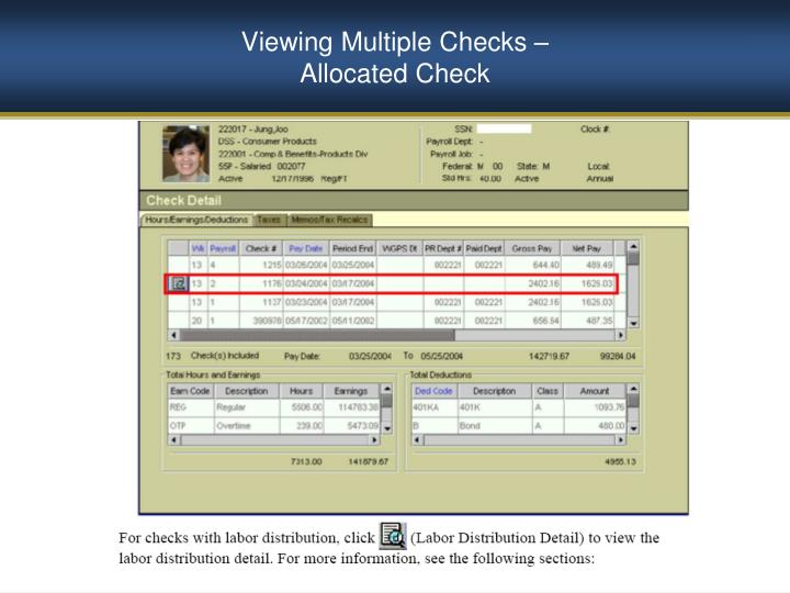 Viewing Multiple Checks –