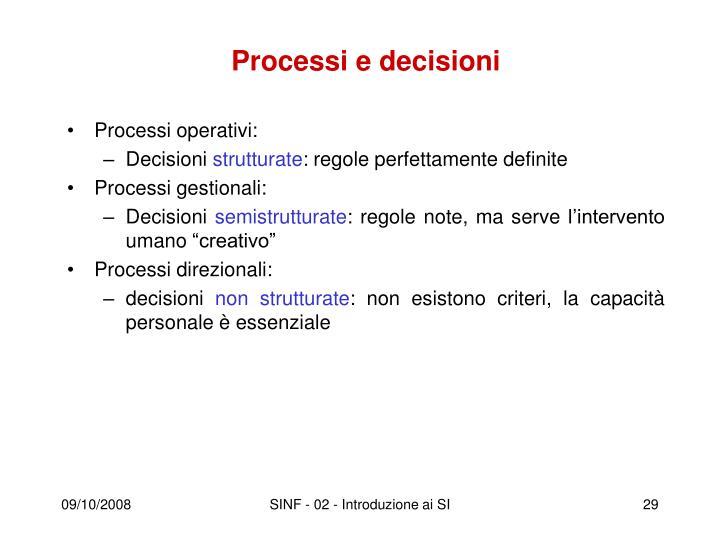 Processi e decisioni