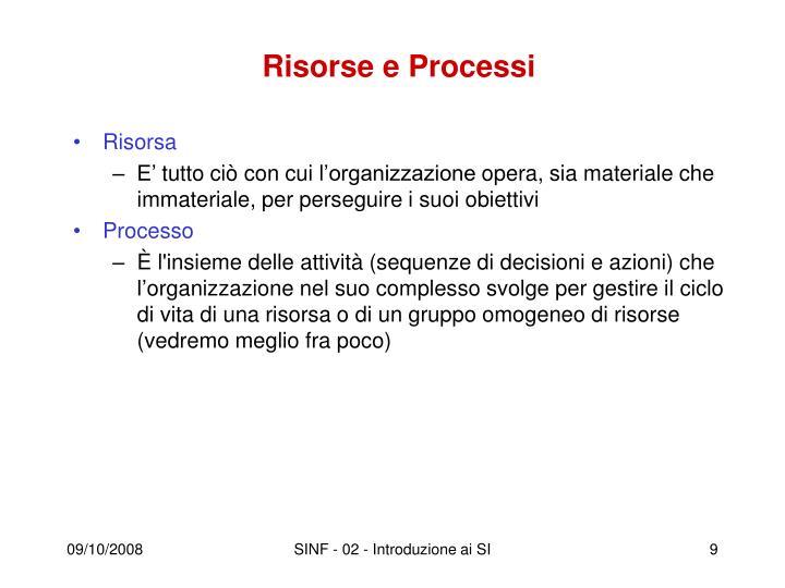 Risorse e Processi