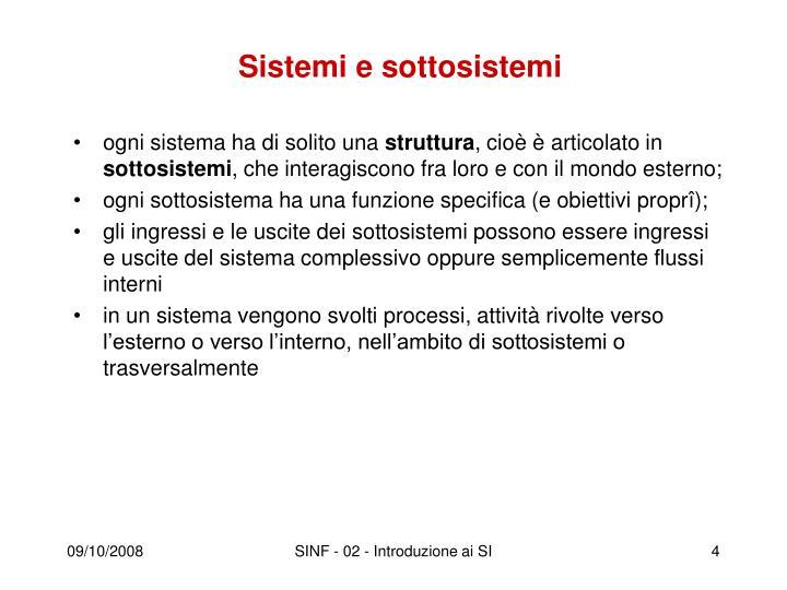 Sistemi e sottosistemi