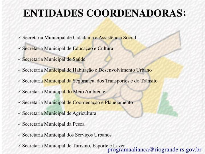 ENTIDADES COORDENADORAS