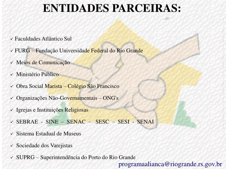 ENTIDADES PARCEIRAS: