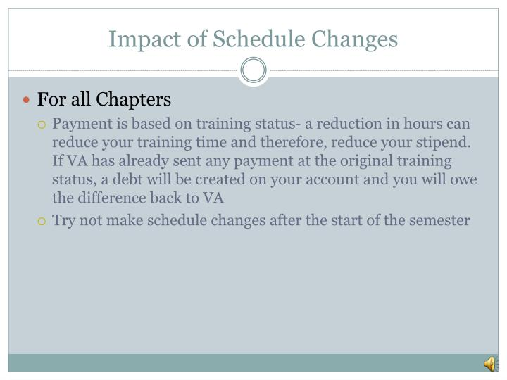 Impact of Schedule Changes
