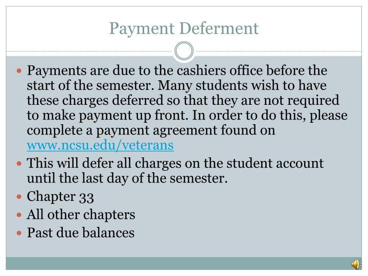 Payment Deferment