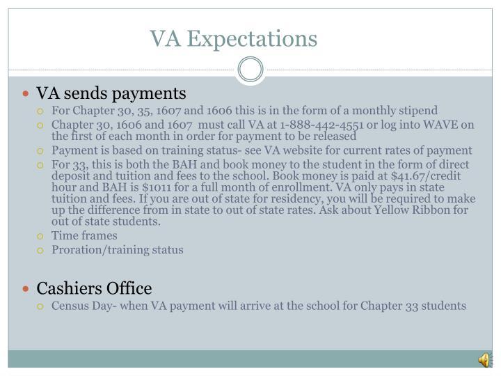 VA Expectations