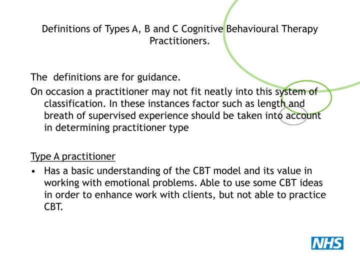 Definitions of Types A, B and C Cognitive Behavioural Therapy Practitioners.
