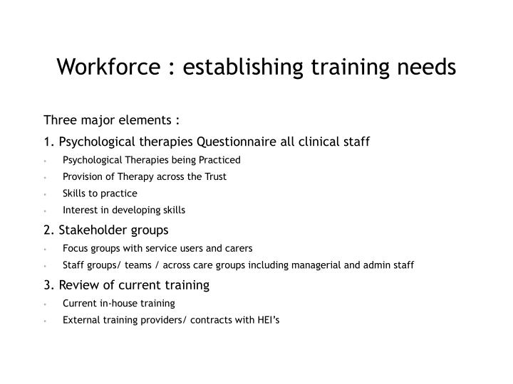 Workforce : establishing training needs
