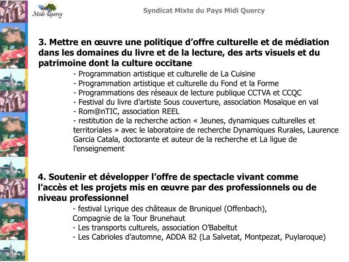 3. Mettre en œuvre une politique d'offre culturelle et de médiation dans les domaines du livre et de la lecture, des arts visuels et du patrimoine dont la culture occitane