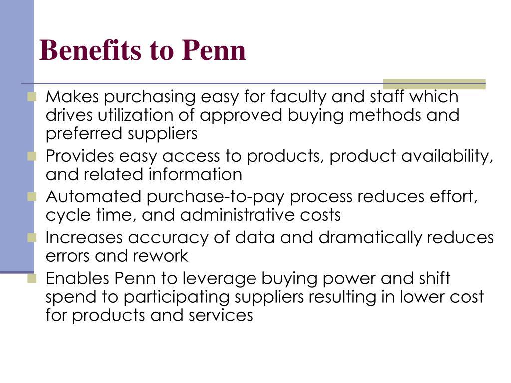 Benefits to Penn