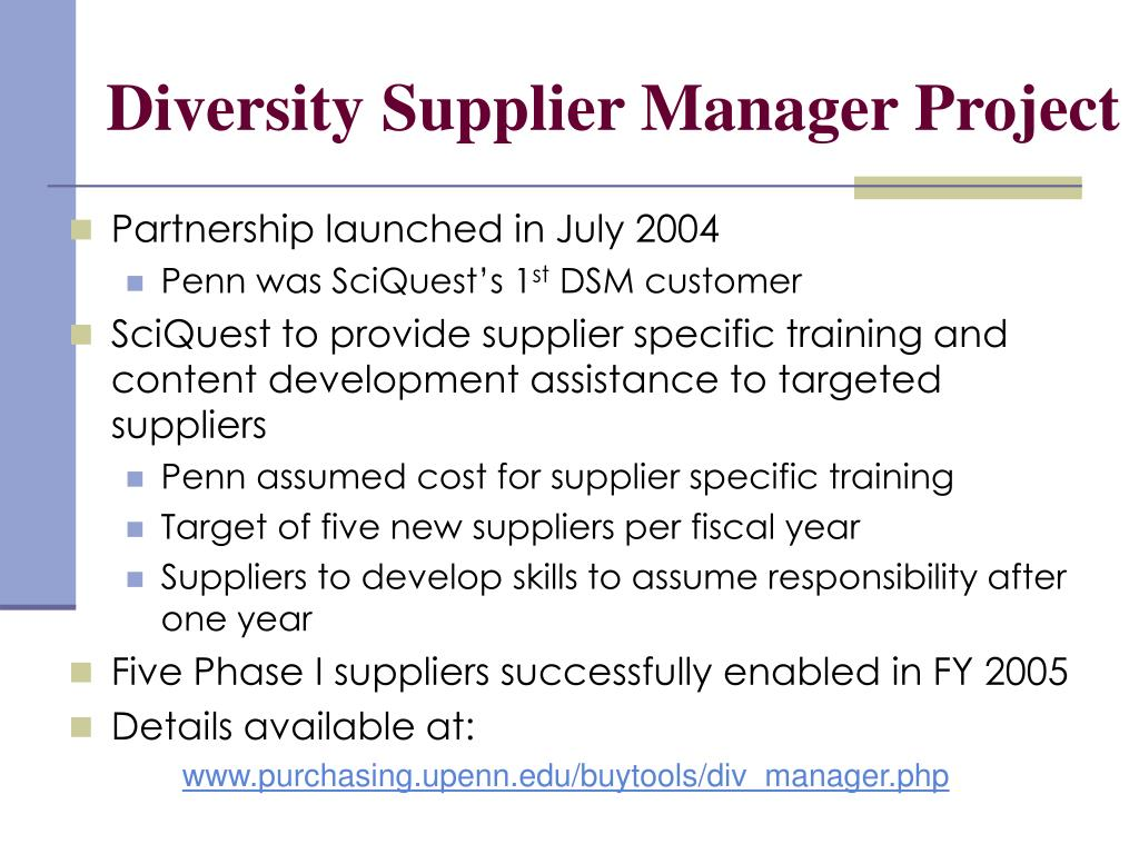 Diversity Supplier Manager Project