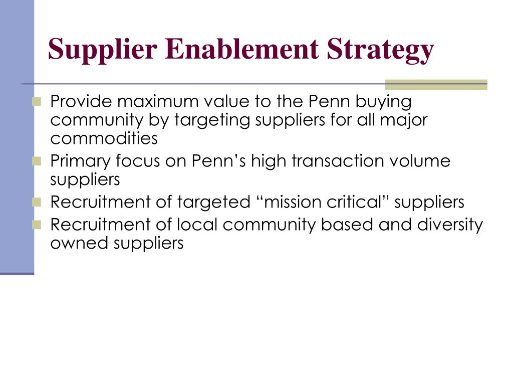 Supplier Enablement Strategy