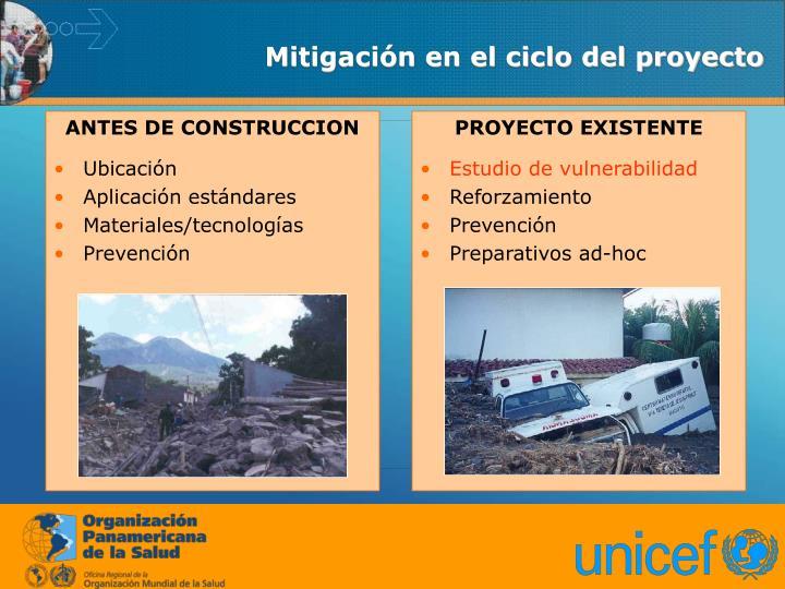 Mitigación en el ciclo del proyecto