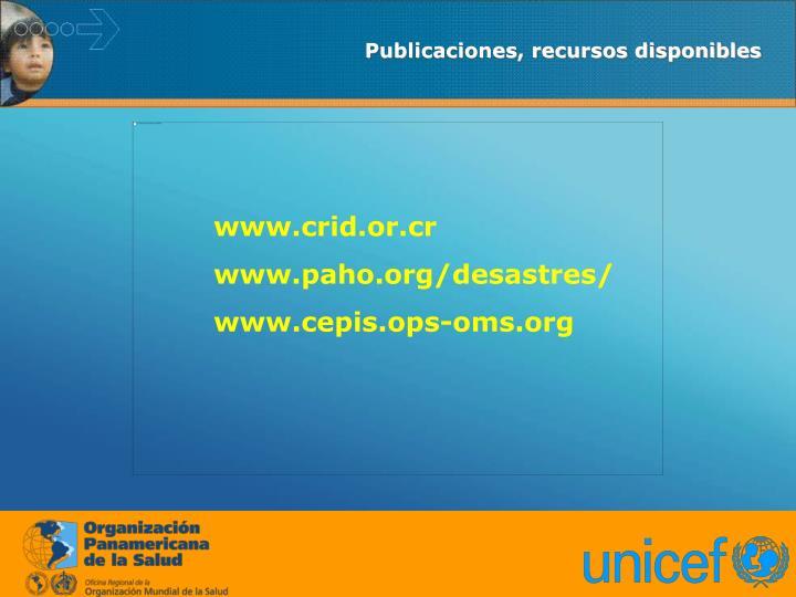 Publicaciones, recursos disponibles