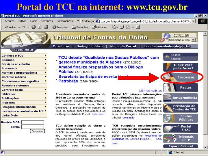 Portal do TCU na internet: