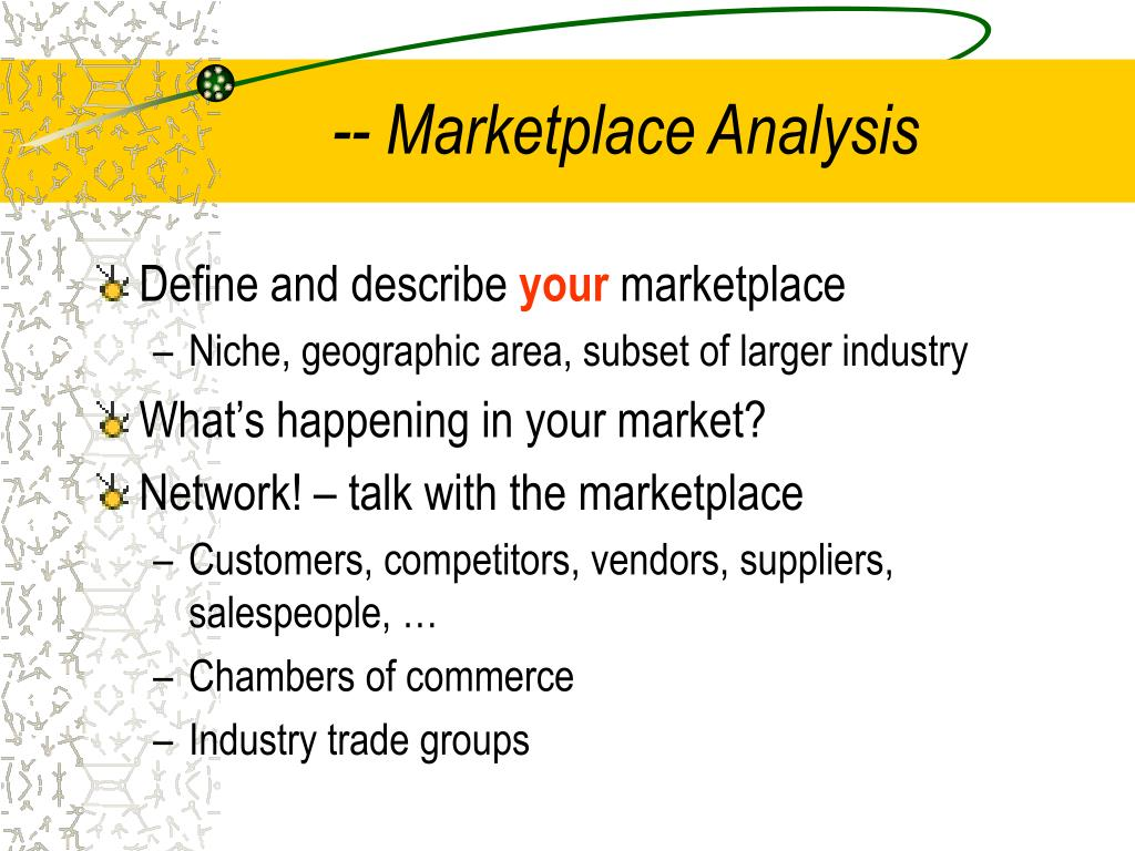 -- Marketplace Analysis