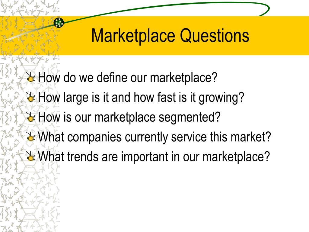 Marketplace Questions