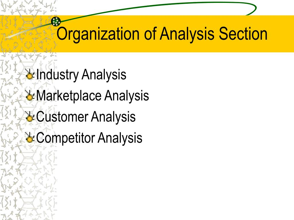 Organization of Analysis Section