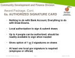 award package cont 6a authorized signature card