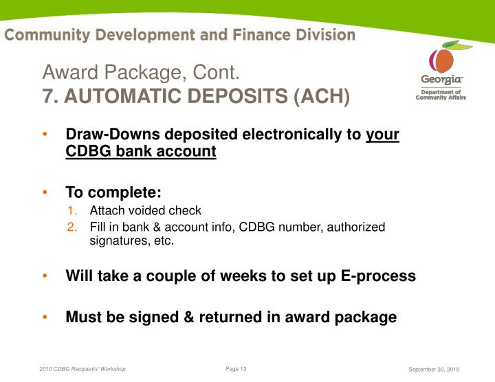 Award Package, Cont.