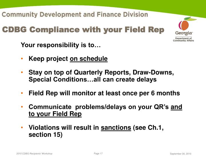 CDBG Compliance with your Field Rep