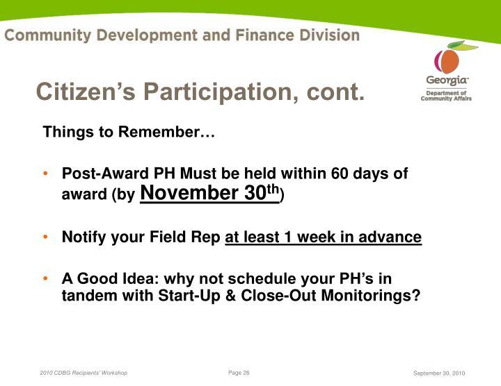 Citizen's Participation, cont.