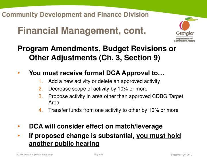 Financial Management, cont.