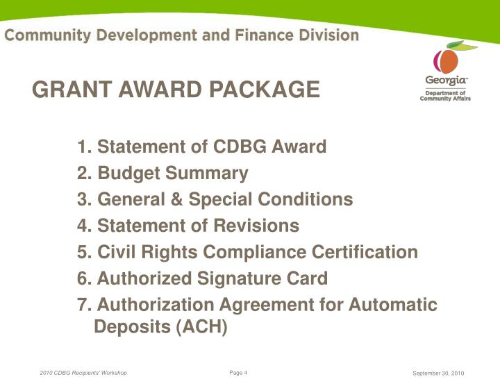 GRANT AWARD PACKAGE
