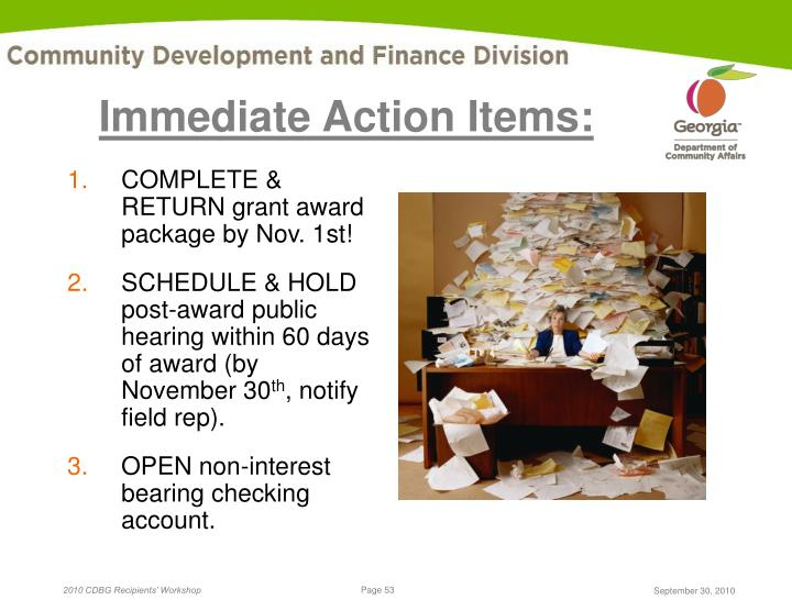 Immediate Action Items: