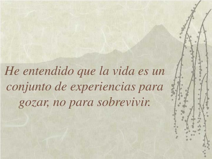He entendido que la vida es un conjunto de experiencias para gozar, no para sobrevivir.