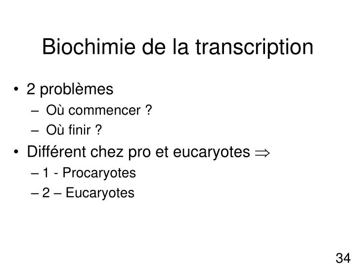 Biochimie de la transcription
