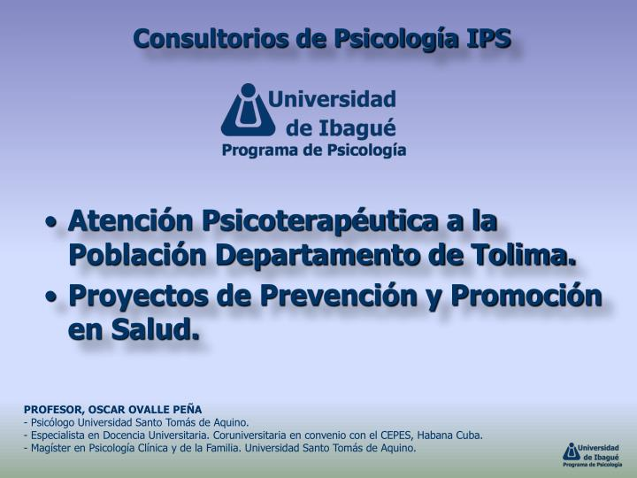 Atención Psicoterapéutica a la Población Departamento de Tolima.