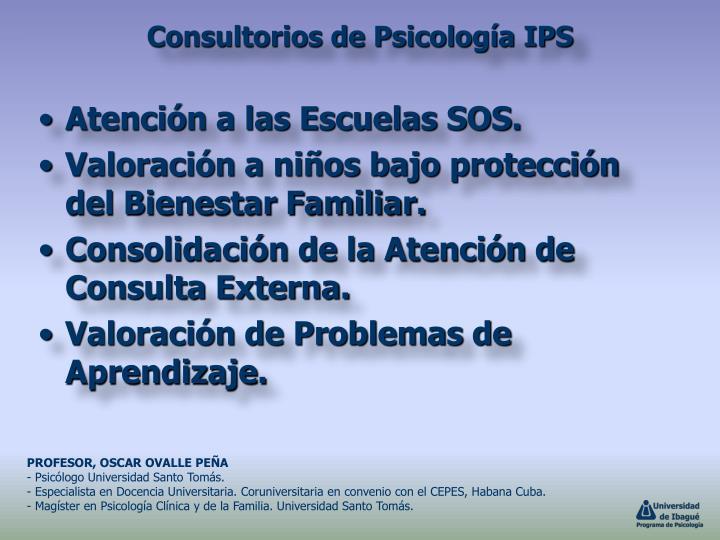 Atención a las Escuelas SOS.
