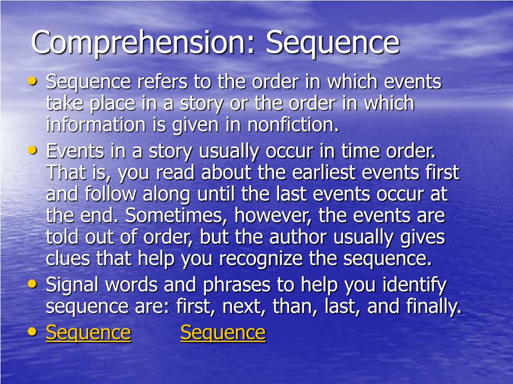 Comprehension: Sequence