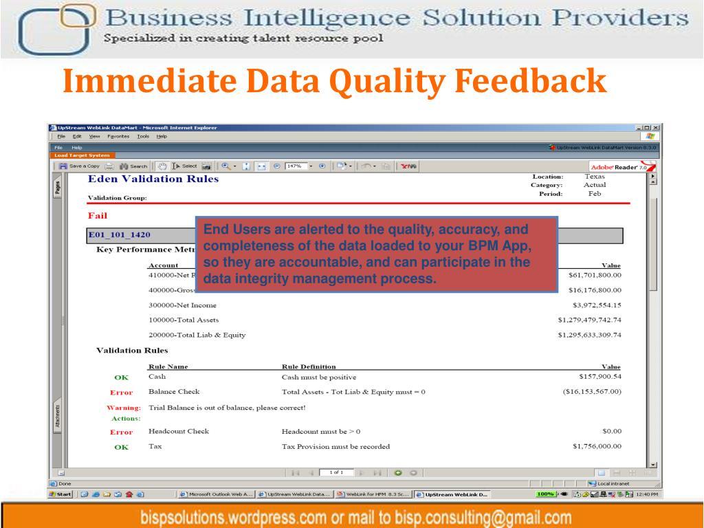 Immediate Data Quality Feedback