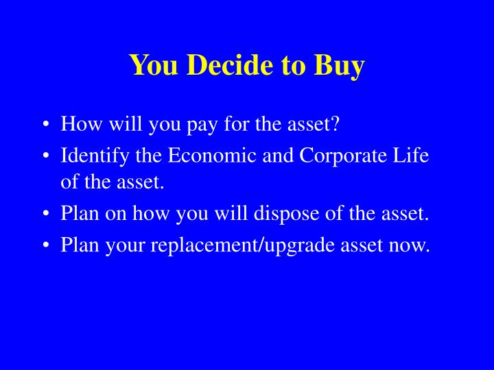 You Decide to Buy