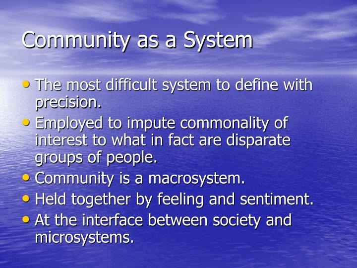 Community as a system
