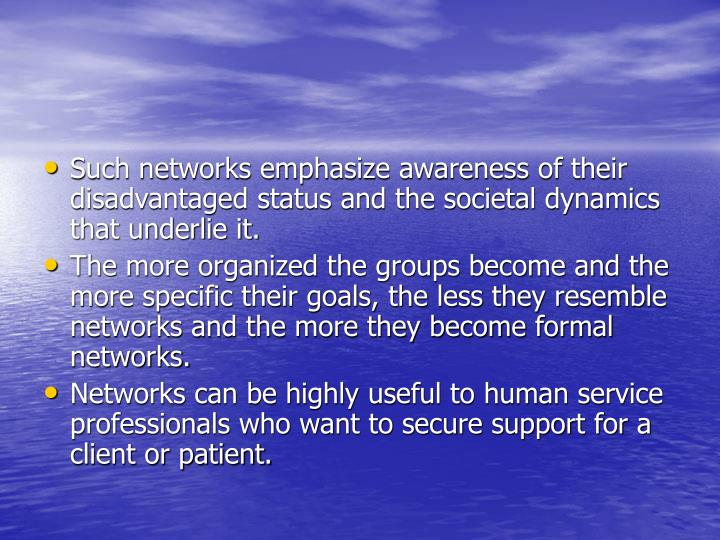 Such networks emphasize awareness of their disadvantaged status and the societal dynamics that underlie it.