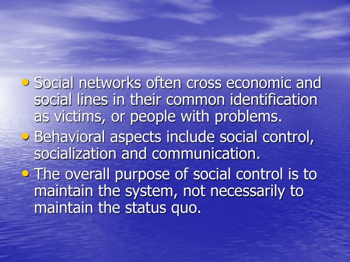 Social networks often cross economic and social lines in their common identification as victims, or people with problems.