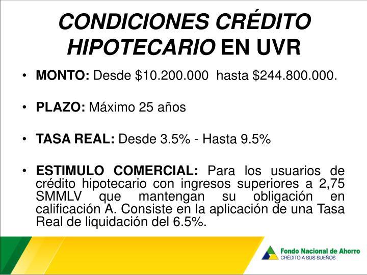 CONDICIONES CRÉDITO HIPOTECARIO