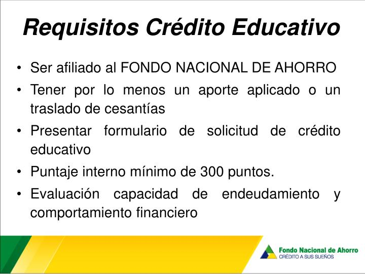 Requisitos Crédito Educativo