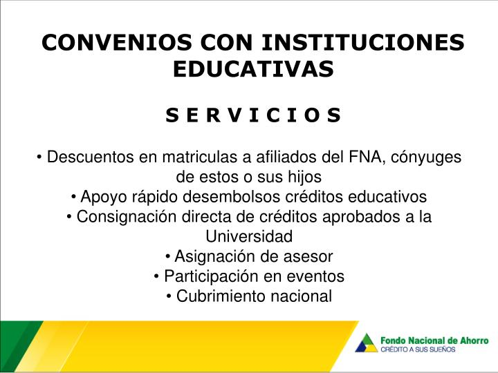 CONVENIOS CON INSTITUCIONES EDUCATIVAS